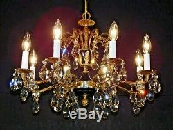 ANTIQUE French 8 Arm 8 Lite Black Empire Cut Lead Crystal Brass Chandelier
