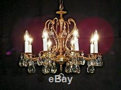 ANTIQUE French 8 Arm 8 Lite Brass STATELY European Cut Lead Crystal Chandelier