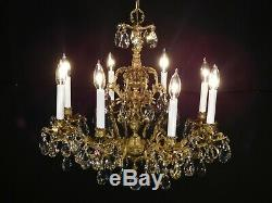 ANTIQUE French 8 Arm 8 Lite Imperial Palace Brass Cut Lead Crystal Chandelier
