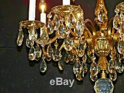 ANTIQUE French 8 Arm 8 Lite Russian Winter Palace Cut Lead Crystal Chandelier