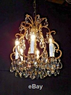ANTIQUE French Brass 6 Arm 6 Lite PETITE BIRDCAGE Cut Lead Crystal Chandelier