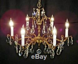 ANTIQUE French Brass 6 Arm 6 Lite SHIMMERING Cut Lead Crystal Chandelier
