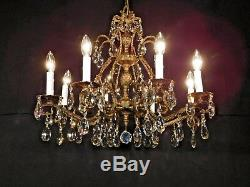 ANTIQUE French Brass Bronze Cut Lead Crystal Double Pineapple Chandelier