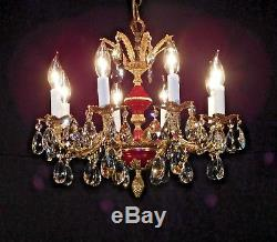 ANTIQUE French Oxblood Empire 8 Arm 8 Lite Brass Cut Lead Crystal Chandelier