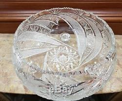 ANTIQUE Hand Cut 24% lead Crystal Bowl Footed / 12 inch ROUND / VINTAGE