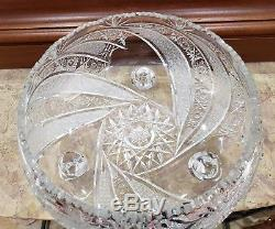 ANTIQUE Hand Cut 24% lead Crystal Bowl Footed / 12 inch, R