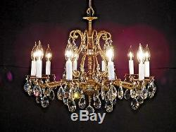 ANTIQUE Huge French STATELY Cut Lead Crystal Chandelier