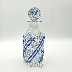 ANTIQUE c1899 Baccarat St Louis Blue Cut to clear lead Crystal Perfume Bottle