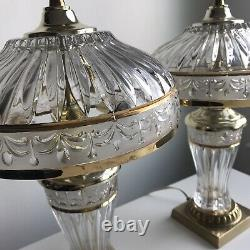 A PAIR! Of Vintage Cut Lead Crystal GILBERT Boudoir Lamps 14.5 TALL, Gold Tone