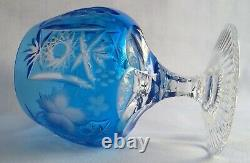 Ajka Marsala Azure Cut To Clear Crystal Brandy Glass / Snifter Set Of 2, Signed