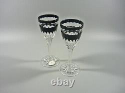 Ajka Onyx Black Cased Cut To Clear Lead Crystal Cordial Glass Set Of 2