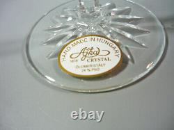 Ajka Ruby Red Cased Cut To Clear Lead Crystal Cordial Glass Set Of 2