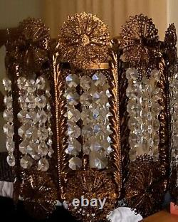Antique 1920s Electric Gilt CHANDELIER-like TABLE LAMPS 400+ Cut Lead Crystals
