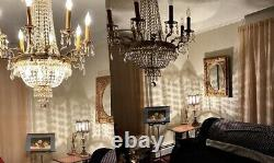 Antique 1920s Electric Gilt CHANDELIER-like TABLE LAMPS 440 Cut Lead Crystals NR