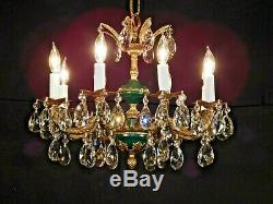Antique 8 Arm 8 Light Green French Empire Brass Cut Lead Crystal Chandelier