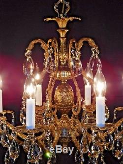Antique 8 Arm 8 Lite Pineapple Cut Lead Crystal Brass Chandelier Pair Available