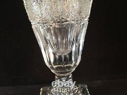 Antique Bohemian Czech Art Glass 24% Cut lead Crystal QUEEN LACE tall VASE signd