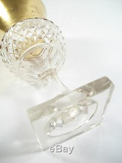 Antique Cut Crystal & Gilt Sherry Goblet Thistle Shaped Late 19th Century