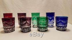 Antique (Czech) Bohemian Cut To Clear Drinking & Whiskey Glasses Lead Crystal