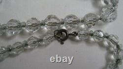 Antique Edwardian 1910 Lead Cut Crystal Bead Graduating Necklace Sterling Chain