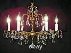Antique FRENCH 1950s 6 Arm 6 Lite Brass SHIMMERING Cut Lead Crystal Chandelier