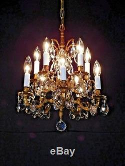Antique French 10 Lite Brass 2 Tiered European Cut Lead Crystal Chandelier
