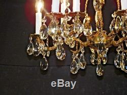 Antique French 5 Arm 10 Lite MESMERIZING Cut Lead Crystal Brass Chandelier