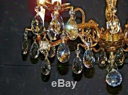 Antique French 5 Arm 5 Lite Extra Fussy Brass Bronze Cut Lead Crystal Chandelier