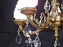 Antique French 5 Arm 5 Lite Flame Globe Cut Lead Crystal Bronze Chandelier