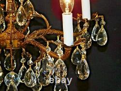 Antique French 5 Arm 5 Lite SHIMMERING Brass Cut Lead Crystal Chandelier