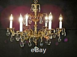 Antique French 6 Arm 6 Lite Extra Fussy Brass Bronze Cut Lead Crystal Chandelier
