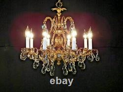 Antique French 8 Arm 8 Lite Brass Bronze Cut Lead Crystal Pineapple Chandelier