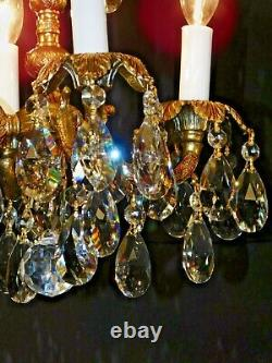 Antique French Brass 4 Arm 4 Lite ADORABLE Cut Lead Crystal Chandelier