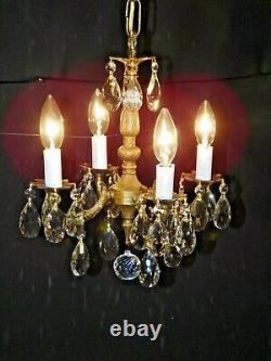 Antique French Brass 4 Arm 4 Lite BABY BONNY Cut Lead Crystal Chandelier