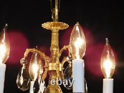 Antique French Brass 4 Arm 4 Lite BABY PINEAPPLE Cut Lead Crystal Chandelier