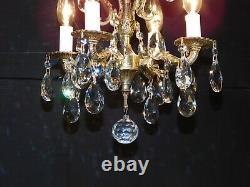 Antique French Brass 4 Arm 4 Lite ULTRA Petite Cut Lead Crystal Chandelier
