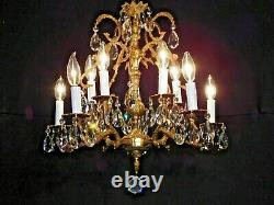 Antique French Brass 5 Arm 10 Lite EXTRA FUSSY Cut Lead Crystal Chandelier