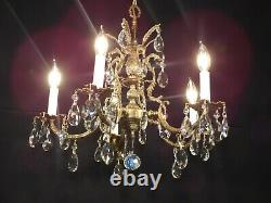 Antique French Brass 5 Arm 5 Lite BABY PINEAPPLE Cut Lead Crystal Chandelier