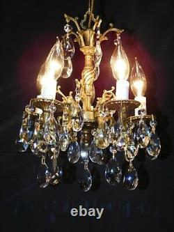 Antique French Brass 5 Arm 5 Lite SVELTE ULTRA PETITE Lead Crystal Chandelier