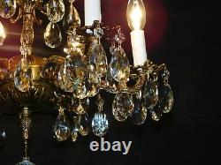 Antique French Brass 6 Arm 6 Lite GLAMOROUS Cut Lead Crystal Chandelier
