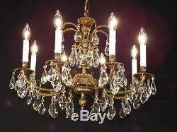 Antique French Brass STATELY 8 Arm 8 Lite European Cut Lead Crystal Chandelier