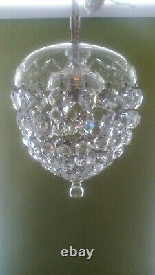 Antique French Crystal Cut Basket/bag Chandelier Lampshade