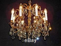 Antique French DARLINGEST 8 Lite Brass Birdcage Cut Lead Crystal Chandelier