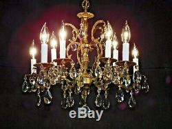 Antique French OLD 5 Arm 10 Lite Rich Dark Patina Cut Lead Crystal Chandelier