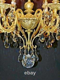 Antique French PALACE Brass ROCOCO 6 Arm 6 Lite Cut Lead Crystal Chandelier