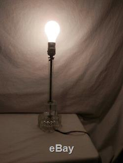 Antique Hand Cut Floral & Leaf Lead Crystal Table Lamp Early 1900's 15