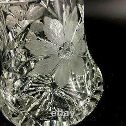 Antique Lead Crystal Bouquet Vase Etched Flowers Cut Glass Saw Tooth Fluted Top