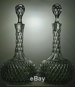 Antique Shaft And Globe Lead Crystal Cut Glass Round Decanters Set Of 2