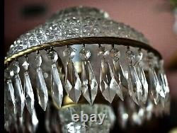 Antique Table Lamp & Domicile Shade American Brilliant Cut Leaded Crystal Glass