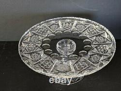 Antique Vintage CAKE STAND BOHEMIAN QUEEN LACE HAND CUT LEAD CRYSTAL PEDESTAL
